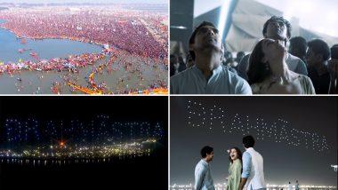 Brahmastra Magic At Kumbh 2019:  Skies Light Up With The Logo Of Ranbir Kapoor and Alia Bhatt Starrer (Watch Video)
