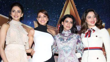 #HerInEveryHero: Rakul Preet, Tamannaah, Samantha Akkineni and Kajal Aggarwal Attend Captain Marvel's Promotional Event As a Fabulous Foursome