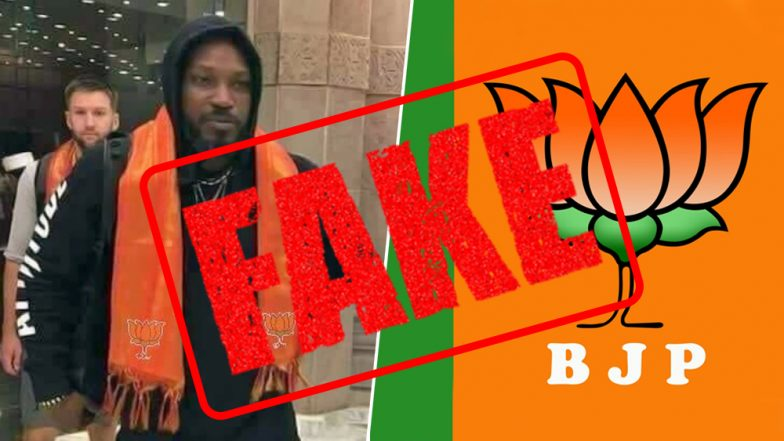 Is Chris Gayle Joining BJP Ahead of Lok Sabha Elections 2019? Know the Truth About Pic of Caribbean Cricketer in Saffron Stole