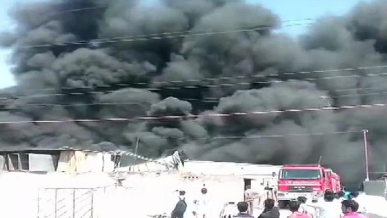 Fire Engulfs Thermocol Factory at Industrial Area in Uttar Pradesh's Greater Noida