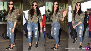 Deepika Padukone's Latest Airport Look Sees Her Rocking Camouflage Jacket With Ripped Denim and Black Sneakers! View Pics