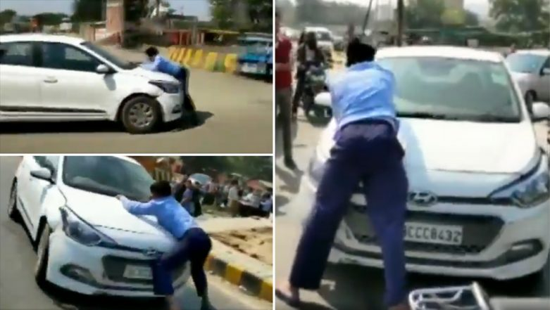 Ghaziabad Road Rage Shocker: Man Drives Car For 2 Km With Cab Driver Clinging On To Car Bonnet; Video Goes Viral