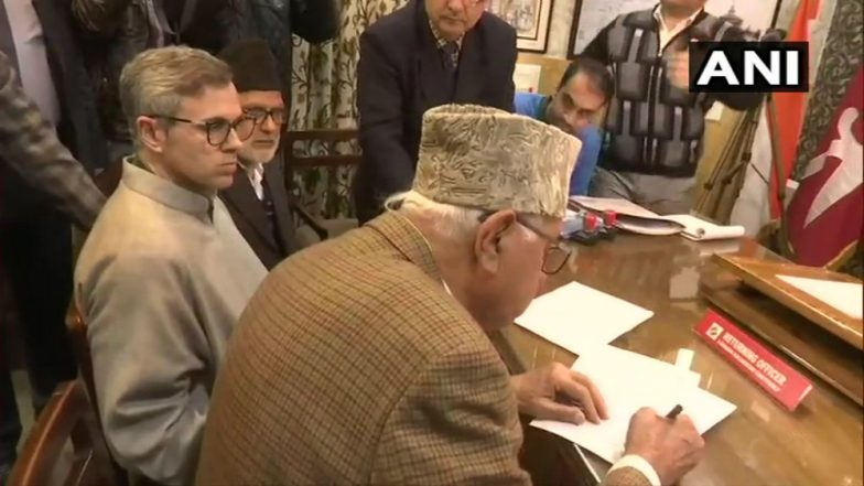 Lok Sabha Elections 2019: Farooq Abdullah Files Nomination Papers for Srinagar LS Seat