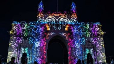 Holi 2019 in Mumbai: Gateway of India Splashed in Colours With Spectacular Light Show a Day Before The Festival, See Pics