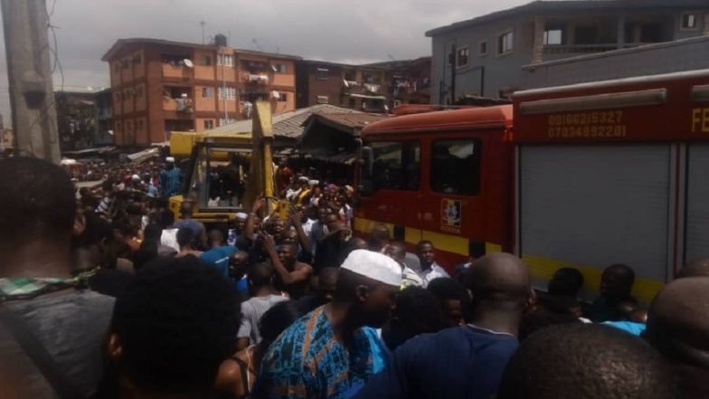Lagos Building Collapse: At Least 10 Children Trapped As 4-Storey Structure Collapses Near Itafaji Market
