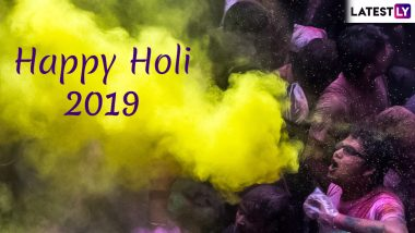 Holi Images & Dhulandi HD Wallpapers for Free Download Online: Wish Happy Holi 2019 With WhatsApp Stickers & Beautiful GIF Greeting Messages