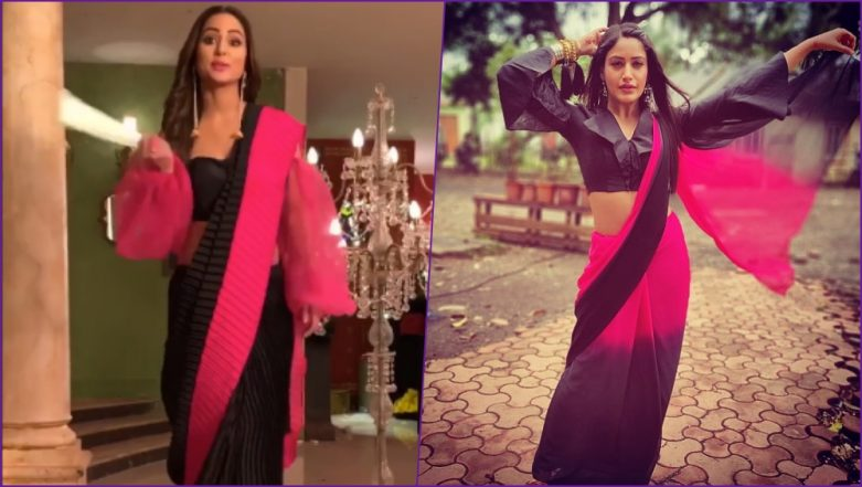 Fashion Faceoff! Hina Khan or Surbhi Chandna, Who Wore The Black & Pink Saree With Billowy Blouse Better? View Pics