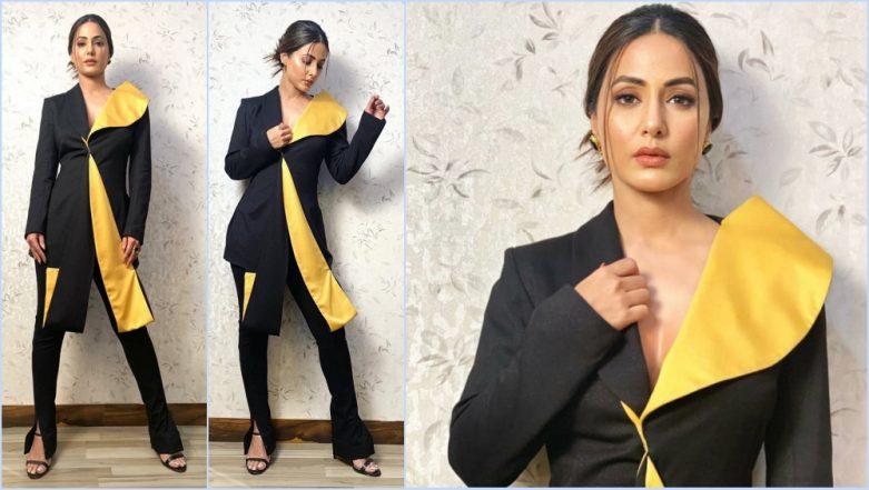 Hina Khan's Komolika Swag Saves This Hideous Two-Tone Asymmetrical Pantsuit (View Pics)