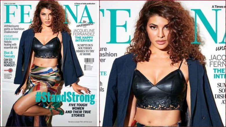 Jacqueline Fernandez Pairs a Black Bralette With Sexy High-Slit Skirt and Blazer in Latest Magazine Photoshoot