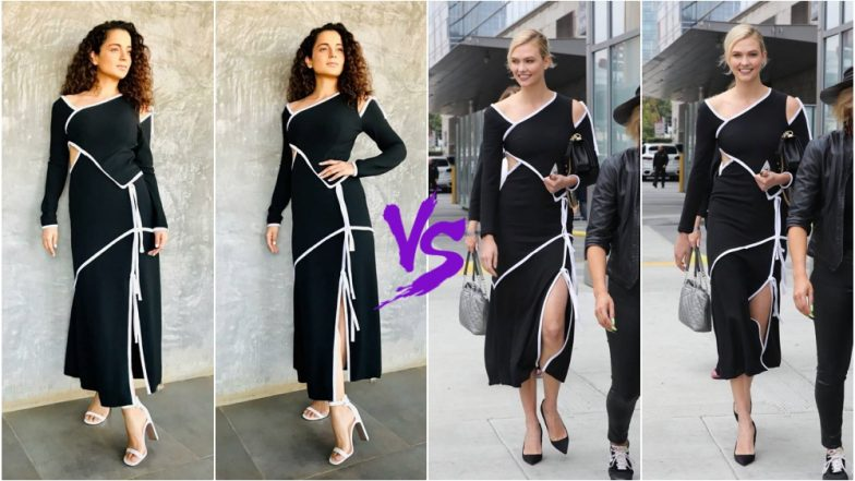 Kangana Ranaut vs Karlie Kloss in Fashion Faceoff: Who Pulled Off This Monochrome Prabal Gurung Dress Better? View Pics