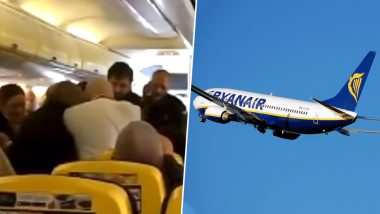 Man's Nose Bitten Off in a Mid-Air Brawl on Ryanair Flight, Passengers Horrified (Watch Video)