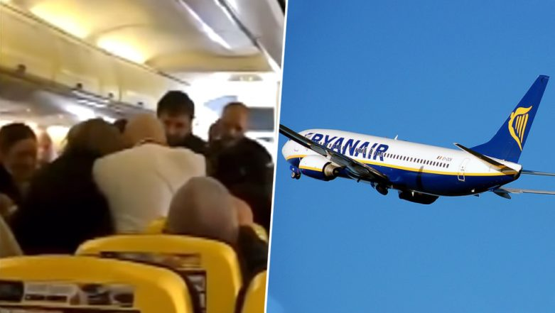 Man's Nose Bitten Off in a Mid-Air Brawl on Ryanair Flight, Passengers Horrified (Watch Video)