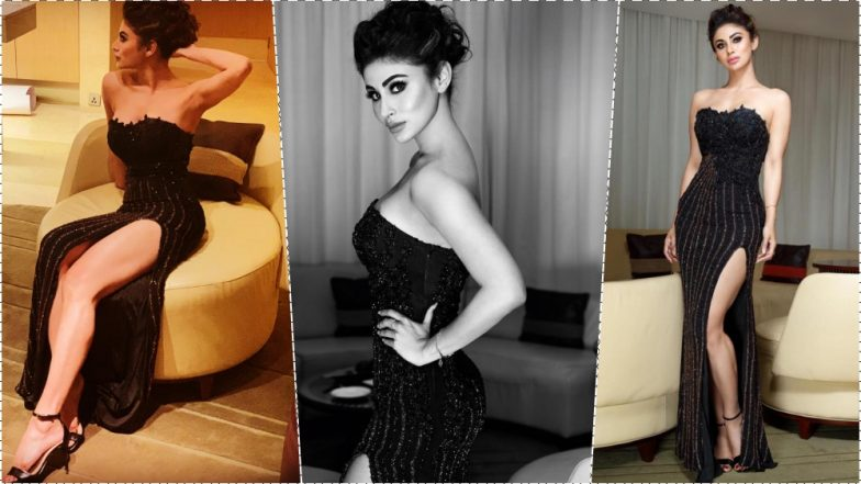 Mouni Roy Oozes Glamour in a Black Off-the-Shoulder Gown With Daringly High Slit at Femina Stylista North 2019 Finale! View Pics