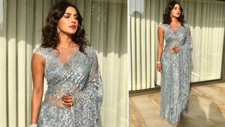 Priyanka Chopra Arrives in Tarun Tahiliani Saree for Akash Ambani-Shloka Mehta Wedding Ceremony (View Pics)