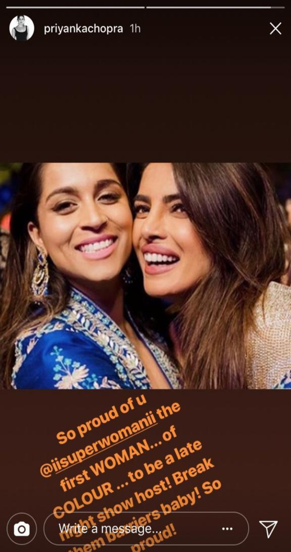 Priyanka Chopra posts a special message for Lilly Singh.