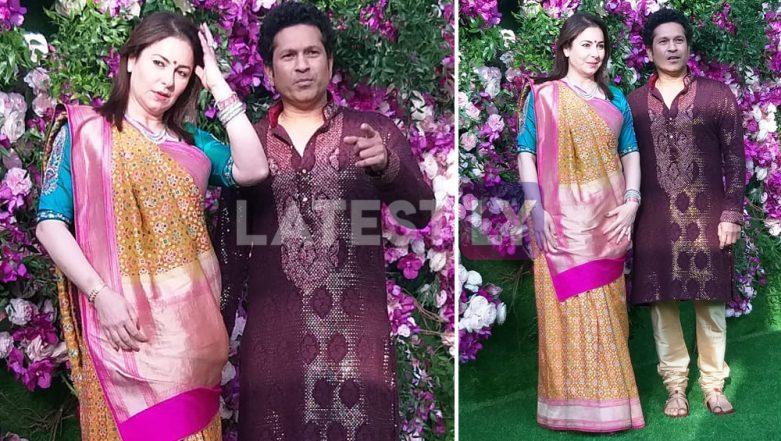 Akash Ambani-Shloka Mehta Wedding Pics: Sachin Tendulkar and Wife Anjali Make a Dashing Entry in Traditional Attire