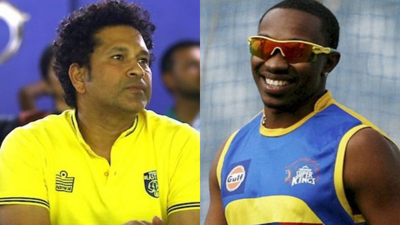 Sachin Tendulkar Wants Dwayne Bravo to Release Asia Song 'Quickly', Wishes CSK Allrounder Good Luck; Watch Video