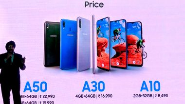 Samsung Galaxy A50, Galaxy A30 & Galaxy A10 Smartphones Launched in India