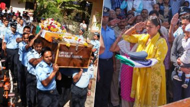IAF Squadron Leader Ninad Mandavgane, Martyred in Budgam Crash, Laid To Rest With Full Military Honours; Wife Asks People to 'Better Act Than Chanting Slogans'