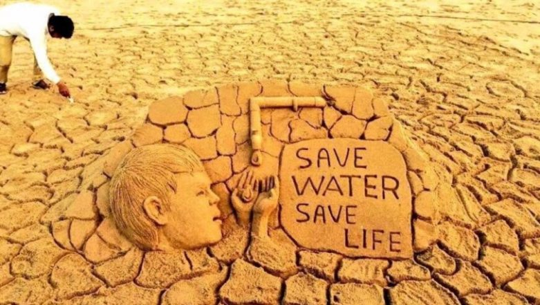 World Water Day 2019: Sudarshan Pattnaik Spreads Message of 'Save Water Save Life' Through Sand Art; See Pic