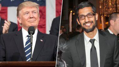 US President Donald Trump Called Sundar Pichai As Google President on Twitter; Earlier Called Tim Cook As 'Tim Apple'