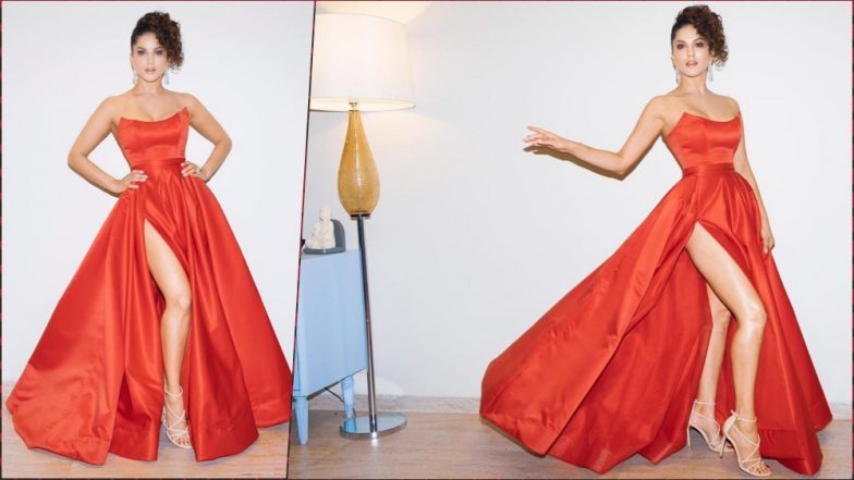 Sunny Leone's Filmfare Awards 2019 Red Hot Gown with a Sexy Sky-High Slit From Lia Stublla is a 'Keeper' (View Pics)