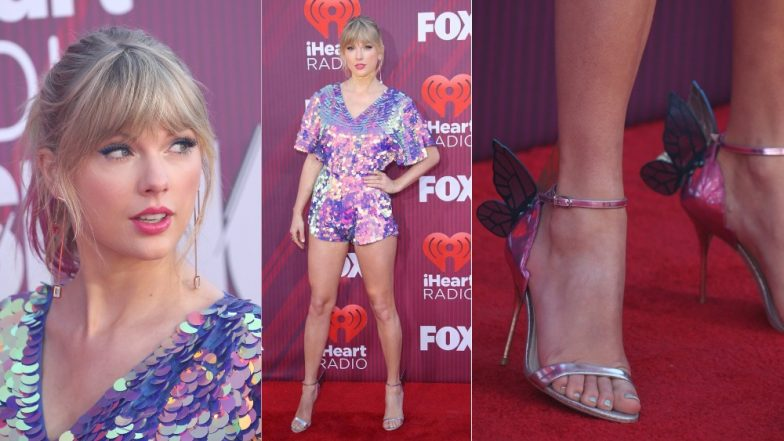 Taylor Swift Sparkles In 'Style' At The iHeart Radio Music Awards In A Cute Sequin Romper And Pink Hair - View Pics