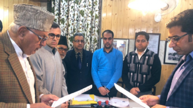 Lok Sabha ELections 2019: National Conference President Farooq Abdullah Files Nomination Papers for Srinagar Seat