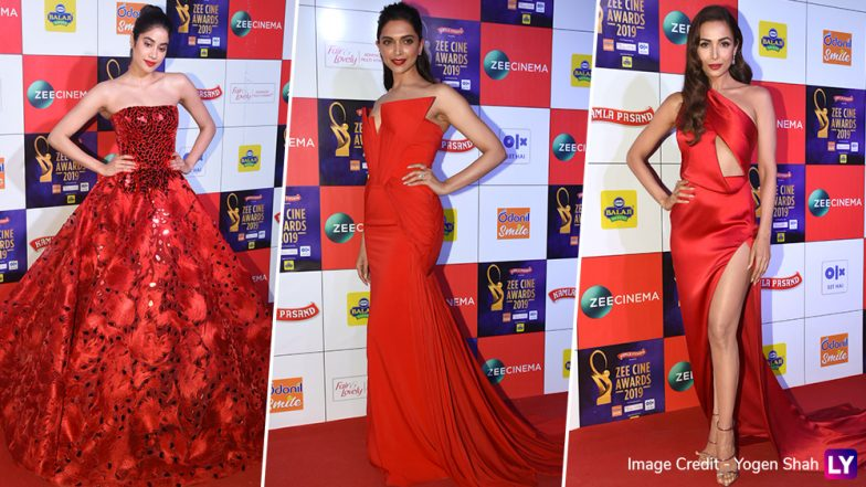 Zee Cine Awards 2019: Red Alert! When Janhvi Kapoor, Deepika Padukone and Malaika Arora Slayed in Their Stunning Gowns (View Pics)