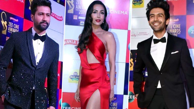 Zee Cine Awards 2019: Vicky Kaushal, Malaika Arora, Kartik Aaryan and Other Celebs Make Glamorous Appearances on the Red Carpet (View Pics)