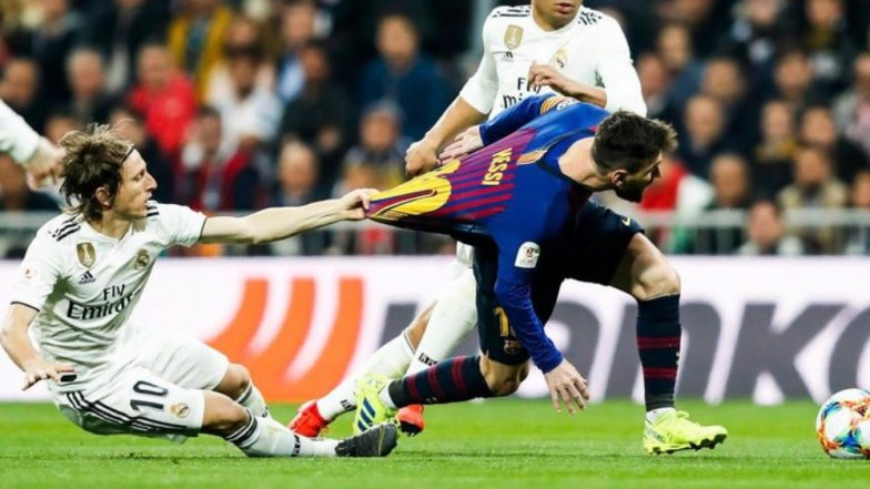 d36d28534ab Barcelona Takes a Dig at Real Madrid s Luka Modric for Pulling Lionel  Messi s Jersey