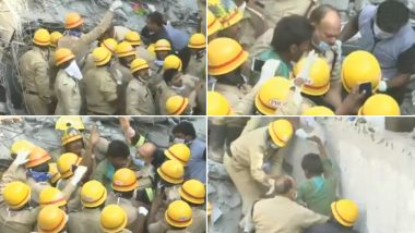 Man Survives Building Collapse in Dharwad, Walks Out Unhurt After Being Trapped Under Debris For Four Days; Watch Video