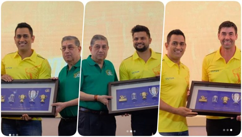 MS Dhoni, Suresh Raina and Stephen Fleming Felicitated by Chennai Super Kings Ahead of Their IPL 2019 Opening Game Against RCB (See Pics)