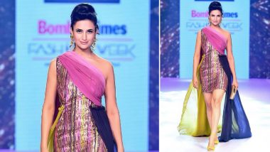 Divyanka Tripathi Sizzles in a Mini Shimmery Pink One-Shoulder Dress at Bombay Times Fashion Week 2019 - View Pic