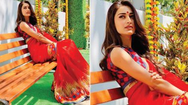 Erica Fernandes Aka Kasautii Zindagii Kay 2's Prerna Stuns in a Printed Red Saree in Her Latest Instagram Post – View Pic