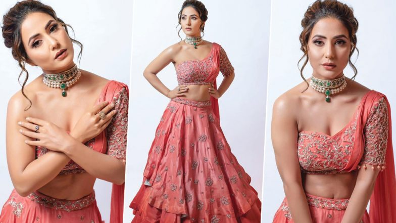 Hina Khan Sets Runway on Fire in a Peach Bridal Avatar at Bombay Times Fashion Week - Watch Video