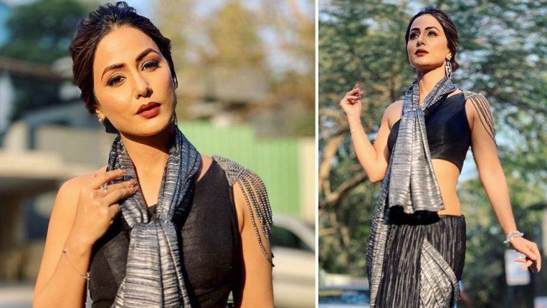 Hina Khan Sets Temperatures Soaring In A Black Saree On the Sets of Kasautii Zindagii Kay 2 (View Hot Pics)