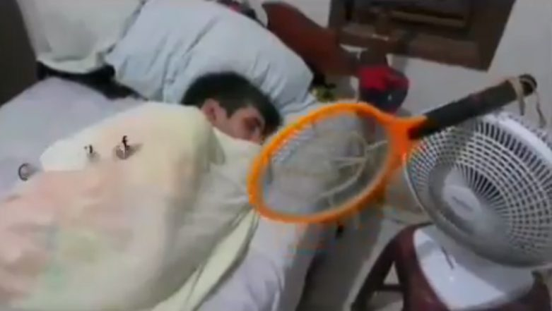 How to Prevent Mosquito Bite While Sleeping? This Man's Hack of Fixing Mosquito Bat on Table Fan Is Winning the Internet (Watch Hilarious Viral Video)