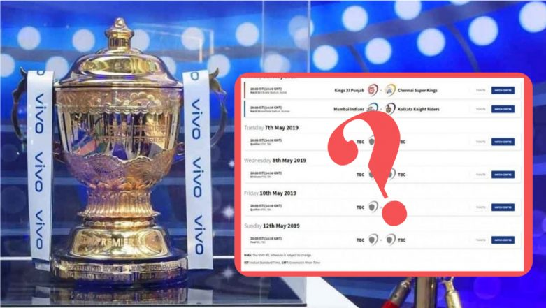 IPL 2019 Playoffs Schedule Leaked: Official Website Reveals Time Table & Dates by Mistake