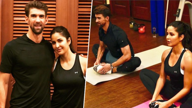 Bharat Actor Katrina Kaif Does Yoga with Michael Phelps as She Trains with The Olympian