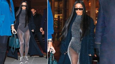 Kim Kardashian Flaunts Her Smokin' Hot Figure in a Shimmery, See-Through Unitard (See Sexy Pictures)