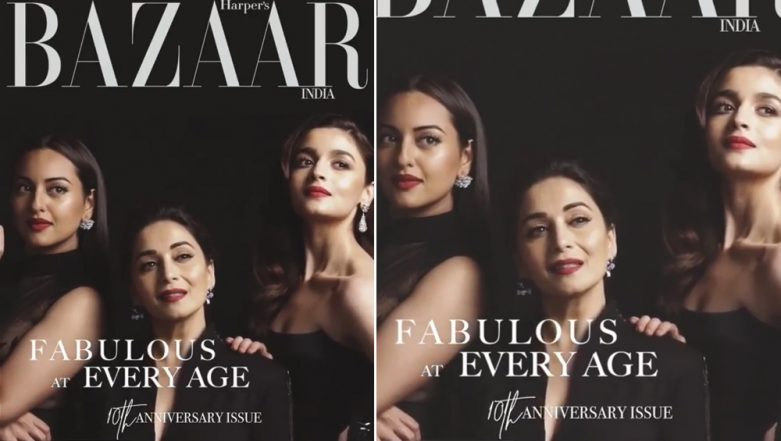Kalank Ladies Alia Bhatt, Madhuri Dixit and Sonakshi Sinha Come Together To Pose for Harper's Bazaar India's 10th Anniversary Issue - View Pic