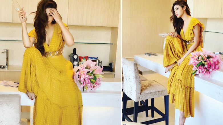 Hotness Alert! Mouni Roy Looks Gorgeous as Ever in Mustard Flowy Dress With a Plunging Neckline – View Pics