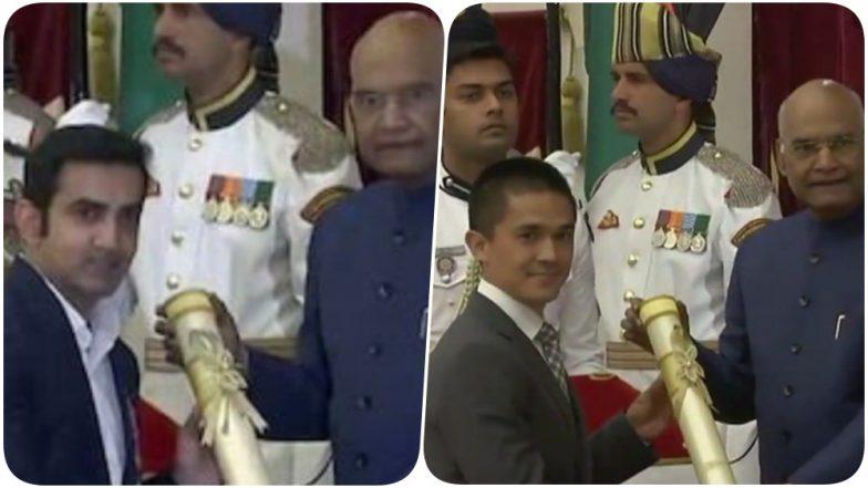 Padma Shri 2019 Winners: Gautam Gambhir, Sunil Chhetri & Other Sports Stars Honoured by President Ram Nath Kovind; See Pics