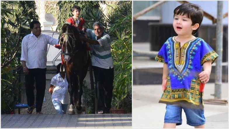 Taimur Ali Khan Steps Out for Horse-Riding Again but It Is His Red Dashiki Shirt That Grabs Our Attention – View Pics