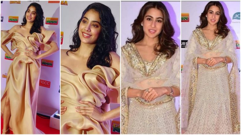 64th Vimal Filmfare Awards: Sara Ali Khan in a Traditional Lehenga or Janhvi Kapoor in an Elegant Gown, Who Stole The Show on the Red Carpet?