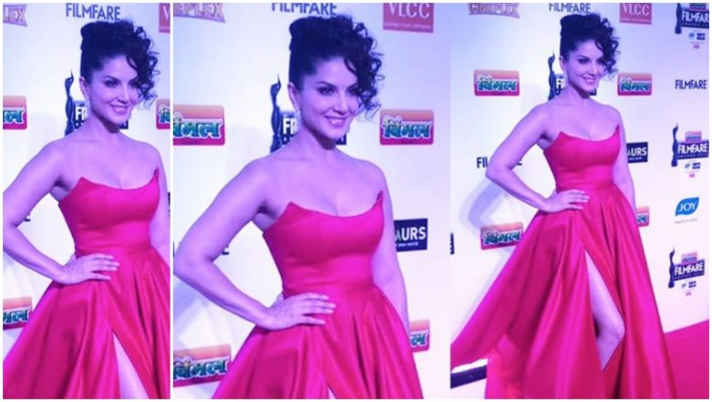 64th Vimal Filmfare Awards: Sunny Leone Flaunts Her Sexy Legs in This Off-Shoulder Red Gown - View Pics