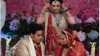 Nita Ambani's Outfit at Akash Ambani-Shloka Mehta's Wedding Has Names of Bride And Groom Written On It (See Pictures)