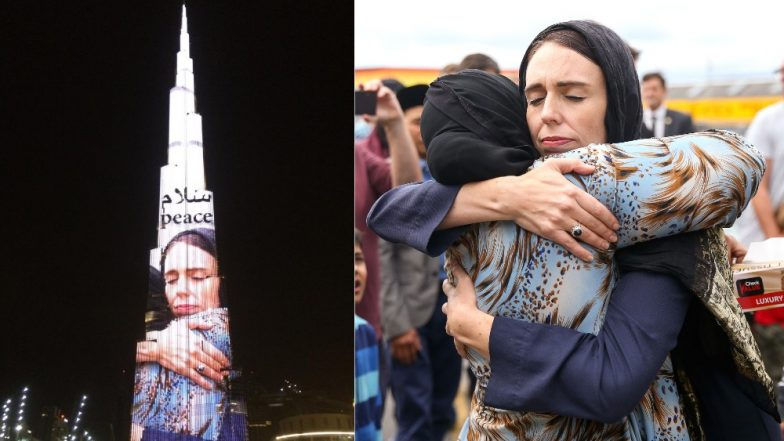 Burj Khalifa Displays Photo of New Zealand PM Jacinda Ardern Embracing Woman; Saudi PM Thanks Her for 'Sincere Empathy'