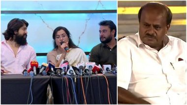 Karnataka CM HD Kumaraswamy Mocks KGF Star Yash, Brother Darshan for Calling Themselves 'Bullocks' in Sumalatha's Campaign – Watch Video